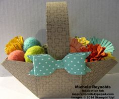 """Handmade Easter basket by Michele Reynolds, Inspiration Ink, using Stampin' Up! products - Envelope Punch Board, Square Lattice Embossing Folder, 2013-2015 In Color Designer Series Paper Stack, Fringe Scissors, In Color Boutique Details, 7/8"""" Scallop Circle Punch, Petite Petals Punch, Itty Bitty Shapes Punch Pack, Pearl Basic Jewels, and Heartfelt Banner Kit from Sale-A-Bration 2014."""