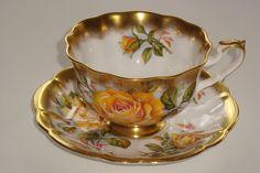 Royal Albert Gold Crest serii Żółte róże Filiżanka herbaty i spodek Duet | eBay
