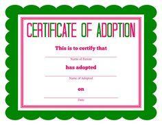 Free Printable Stuffed Animal Adoption Certificate Pet Adoption Certificate Dog Adoption Certificate Birth Certificate Template