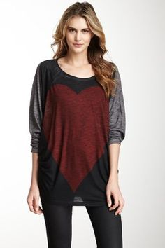 Heart Scoop Dolman Tee by Go Couture