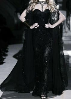 black gown with beautiful lace