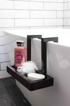 Build this beautiful modern bath caddy for your freestanding tub! It's simple to modify to fit your own tub design. The perfect bathroom accessory. The post Build this beautiful modern bath caddy for your fr… appeared first on Best Pins for Yours. Bathroom Caddy, Bathroom Sets, Bath Caddy, Small Bathroom, Modern Bathroom, Rental Bathroom, Bathroom Canvas, Glass Bathroom, Bathroom Wall