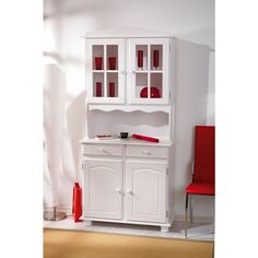 Buffet vaisselier 2 portes pin blanc MILENA MILIBOO