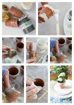 Spring Party Favors - How to make realistic looking aged pots - www.findingsilverpennies.com