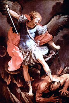 Saint Michael defeats Satan by Guido Reni, 1635.  One of the most famous and recognizable angels is the Archangel St. Michael who cast down Lucifer from heaven to the depths of hell along with the rest of the angels who were fallen from grace with God. He is depicted in Armor with his sword upon the devil. Showing his force and strength over him.