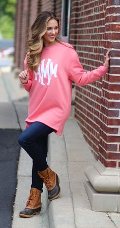 The ultimate comfy sweatshirt- PERSONALIZED! Monogrammed Crewnecks on sale now at www.marleylilly.com
