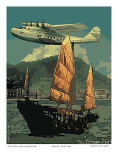 China Clipper Poster by Kenneth De Tore - Pan Am - Flugzeug Airplane Art, Flying Boat, Art Deco Posters, Vintage Airplanes, Aviation Art, Tarzan, Vintage Travel Posters, Dieselpunk, Illustrations