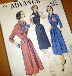 1950s Vintage Sewing Pattern  50s Pullover V Neck by SelvedgeShop, $18.00