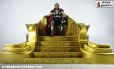1/6 Scale Odin's Throne (Marvel) Custom Diorama / Playset - Made from versa board plastic, cut manually with precise measurements . The intricate design was also cut manually a fine blade cutter , glued together and painted with urethane silver paint then toned with gold toner paint to give it with a dramatic gold effect . Scale fot 1/6 scale figure specifically for hot toys odin, thor and loki figure.   sculpted by studiogenesis artist ferdie and painted . . .