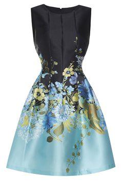 Sleeveless Floral Pattern Pleated High Waist Dress