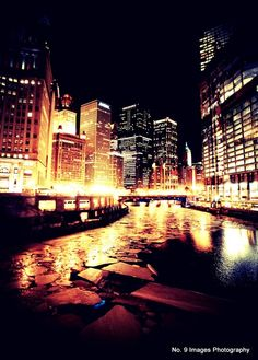 Chicago at Night: The Frozen River lit up by the street lights - 8x10 fine art print from Etsy Shop no9images ($15)