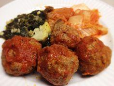 Paleo Meatballs, Kimchi, and Spinach with Artichoke Hearts: 12/4/13