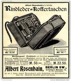 Original-Werbung/ Anzeige 1897 - KOFFER / REISETASCHE / ALBERT ROSENHAIN - BERLIN  - ca. 90 x 110 mm
