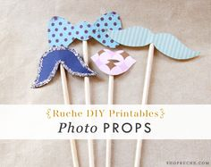 DIY photo props tutorial from Ruche. Printable template included!  This would be fun to have the guests play with. Things tend to get a little silly at my parties.