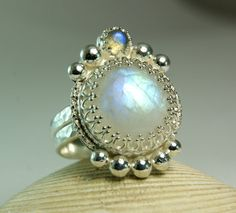 Sterling Silver Moonstone Labradorite Ring by TazziesCustomJewelry