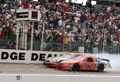 Rick Craven vs. Kurt Busch, Darlington, 2003- Closest finish in NASCAR history (has now been tied). . . 0.002 second margin.  My husband built Ricky's car with one other guy. It is now in the NASCAR Hall of Fame.