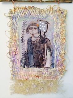 Handmade paper with ink and acrylic drawing and burlap.