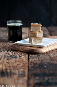 Salted Beer Caramel Topped Blondies. I bet they would be amazing with pretzels on top too...
