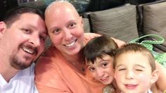Woman diagnosed with rare breast cancer after spotting unusual freckles on chest: Rebecca Hockaday, with her husband, Gregg, and their two kids, while she underwent breast cancer treatment.