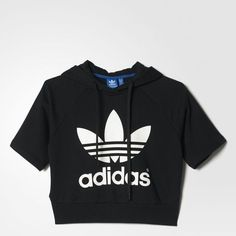 adidas Running Crop Hoodie (£45) ❤ liked on Polyvore featuring tops, hoodies, adidas pullover, hoodie pullover, pullover hoodie, short sleeve hooded sweatshirt and short sleeve crop top