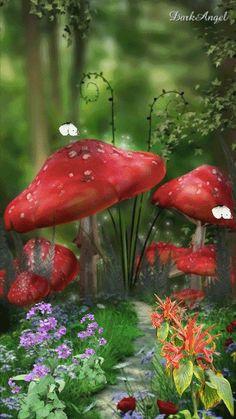 Animation 006 by DarkAngel Fantasy Forest, Fantasy Art, Rosas Gif, Bird Artists, Flowers Gif, Mushroom Art, Beautiful Gif, Fantasy Landscape, Fairy Art