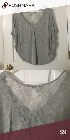 Grey winged blouse Never worn grey blouse. Slightly winged arms and beautiful lace detailing on the back Forever 21 Tops Blouses
