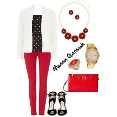 Classy , red black and white outfit by mna qansoh by menna-qansouh on Polyvore featuring polyvore, fashion, style, Alice + Olivia, Luxe, J Brand, Paul Andrew, Armani Jeans, Rolex, Thalia Sodi and Dorothy Perkins
