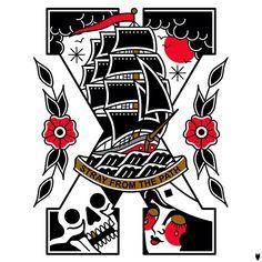 #tattoo #sxe #traditional #tattooflash #traditionaltattoo #shiptattoo #sailor #illustration #derickjames #oldschooltattoo #art #straightedge #x #classictattoo