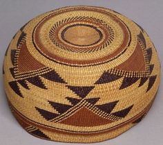 Northern California Polychrome Twined Basketry Hat | c. 1900