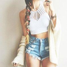 High neck white crop and shorts summer wake fashion