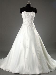 Elegant Strapless Scoop Neckline Beaded A-line Organza Satin Wedding Dress WD1038 www.tidedresses.co.uk $238.0000