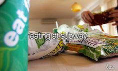 eating at subway omg my fave place