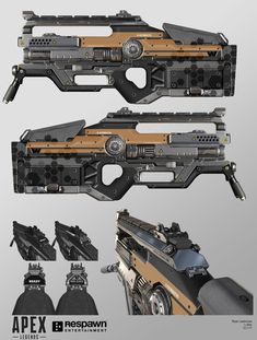 The L-STAR EMG makes its return in Apex Legends as a devastating plasma machine gun. A few changes were made to the silhouette of this weapon to better serve the purpose of an LMG. A front bipod was attached along with slimming down the foregrip handguard Sci Fi Weapons, Weapon Concept Art, Fantasy Weapons, Weapons Guns, Titanfall Cosplay, Arsenal, Plasma Machine, Future Weapons, Arte Cyberpunk