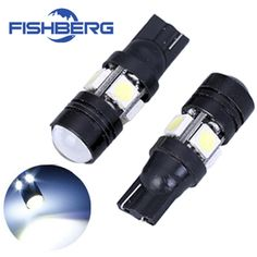 2pcs/lot T10 LED W5W Light Bulbs 5050 SMD  Lens 4 LED 12V Parking 194 168 Xenon White Red Blue Green Yellow Wedge FISHBERG * Click on the image for additional details.