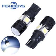 2 개/몫 T10 W5W LED 전구 5050 SMD 렌즈 4 LED 12 볼트 주차 194 168 제논 화이트 레드 블루 그린 옐로우 웨지 FISHBERG