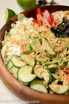 Low Carb Spring Roll Salad with Sweet Peanut Dressing - This salad will satisfy all your cravings and not derail your diet! #lowcarb #springroll #saladrecipes #keto #sugarfreemom