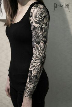 >> Sleeve tattoo blackwork. Mandalas and roses by Household Ink...