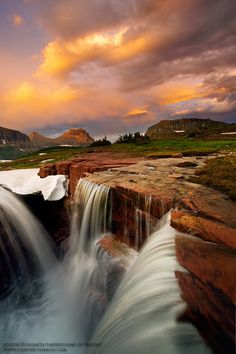 Triple Falls - Glacier National Park, Montana [Early July/Summer, Sunrise/sunset, accessible when Hanging Gardens area is open, Critical tundra area, Check w/Ranger for access]