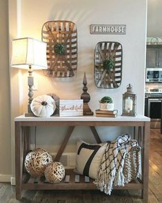 45 Awesome Fall Entryway Decoration Ideas That Will Make Your Neighbors Insanely Jealous. When someone walks into your house, what impression do they get of your home? Is it a cluttered with shoes, ha. Farmhouse Table, Farmhouse Decor, Modern Farmhouse, Tobacco Basket Decor, Living Colors, Boho Home, Entryway Decor, Fall Entryway, Foyer