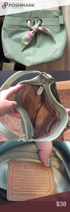Coach shoulder bag Beautiful authentic sea foam green purse. Great condition! Pet and smoke free home. Coach Bags Shoulder Bags