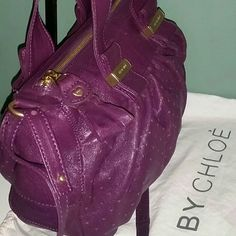 100% Authentic See by Chlo? Purple Leather SUPER SOFT This can be used as a shoulder or crossbody  Can't tell it has even been used Love the double straps and long strap Has a leather heart shaped zipper pull Chloe Bags Satchels