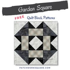 Garden Square quilt block The GARDEN SQUARE quilt block is a simple nine patch design — a perfect choice for Japanese Quilt Patterns, Hand Quilting Patterns, Sewing Machine Quilting, Easy Quilt Patterns, Pattern Blocks, Half Square Triangle Quilts, Square Quilt, Beginning Quilting, Modern Quilting Designs
