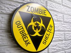 ZoMBie Outbreak Shelter Round Clock / Sign 9 by signpainterchris, $25.00