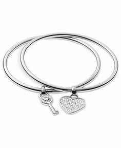 Michael Kors Silver-Tone Heart and Key Charm Bangle Bracelets