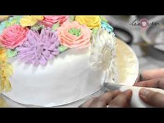 ▶ 3 Tier Wedding Cake With Articake Inspired Flowers Decorating Class - YouTube