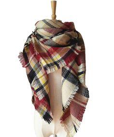 BUDI Women Stylish Cashmere-Like Warm Blanket Scarf Plaid Tassel Pashmina Wrap Shawl(black claret)