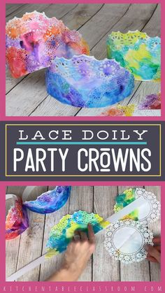 Simple paper doilies become colorful paper crowns perfect for a celebration or a special play day! Simple paper doilies become colorful paper crowns perfect for a celebration or a special play day! Kids Crafts, Easy Diy Crafts, Summer Crafts, Toddler Crafts, Diy Crafts To Sell, Sell Diy, Decor Crafts, Wood Crafts, Etsy Crafts