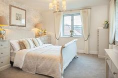 Upholstered French Linen Bed, cream on cream with blush accents. Love the Eau de Nil beside tables. Cala Homes New Home Developments, French Bed, Detached House, Property For Sale, Bedroom Decor, Bedroom Ideas, New Homes, Interior Design, Furniture