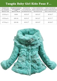 Tangda Baby Girl Kids Faux Fur Warm Coat Winter Jacket Snowsuits Outwear Size L - PowderBlue. Features: This is a most popular winter coat, beautiful and warm Suitable for children 3-8 years Can be as the snowsuit Specifications: Material: Faux Fur Size: L Length: 48cm/18.9inch Bust: 80cm/31.5inch Sleeve: 38cm/15.0inch Color: Blue Notice: The measurement may have 1-3cm (0.39-1.18inch) inaccurate errors. There might be slight colour deviation due to different displays. Package includes: 1…