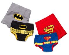Make your baby's butt a super butt with these Superhero Diaper Covers. One size fits most infants.  They come in Superman and Batman versions and the cape attaches with 3 hook-and-loop patches. Whether they went boom boom or pee